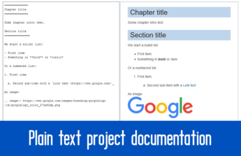 plain text documentation