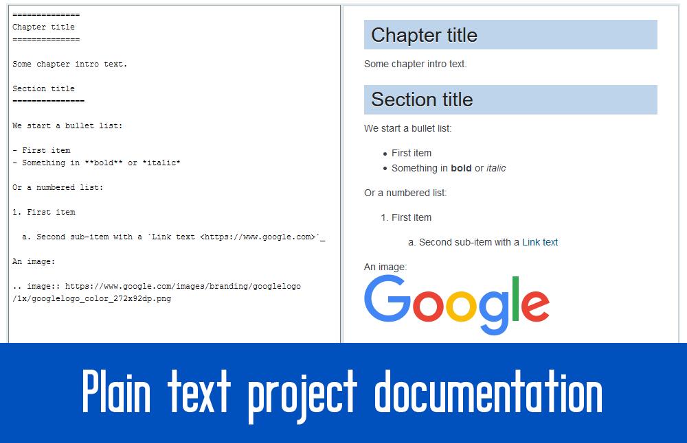 plain text documentation